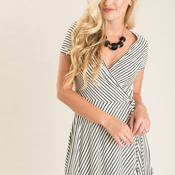 Evie Black and Cream Stripe Wrap Dress