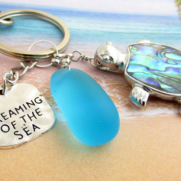 Abalone Sea Turtle Keychain with Sea Glass