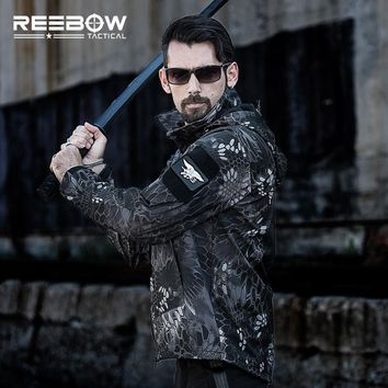 REEBOW TACTICAL Waterproof Softshell Hiking Jacket Men Outdoor Hunting Sports Army SWAT Military Training Outerwear Coat