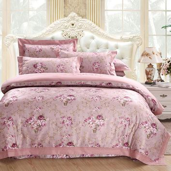 Pink Purple Bedding Set Queen King size Bed/Fitted Sheet set 100%Cotton Bed set Duvet Cover juego/ropa de cama parure de lit