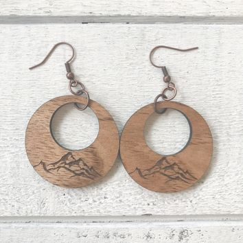 Wooden Mountain Hoop Earrings