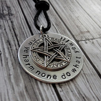 Wiccan Rede With Pentacle Pendant Necklace / Hand Stamp Wicca Rede / Pagan Jewelry / Wiccan Jewelry / Wiccan Pentagram Necklace / Wicca Rede