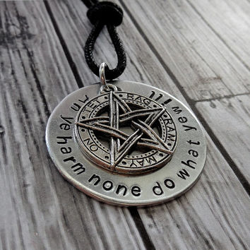 Wiccan rede with pentacle pendant from riversongsjewelry wiccan rede with pentacle pendant necklace hand stamp wicca rede pagan jewelry w aloadofball Choice Image