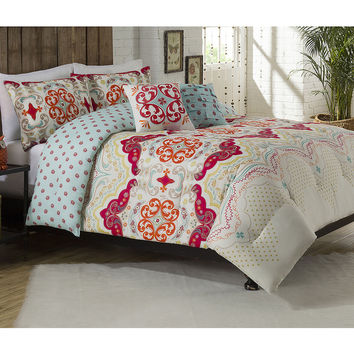 Milo Flower Reversible 5-piece Comforter Set | Overstock.com Shopping - The Best Deals on Teen Comforter Sets