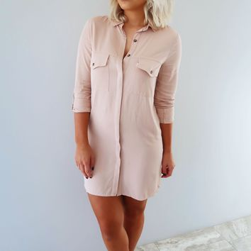 Casual Work Day Dress: Mauvy Pink