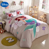 Disney Cartoon Little Mermaid Printed Bedding Sets for Childrens Girls Bedroom Decor Cotton Bed quilt duvet covers Queen King sz