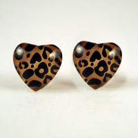 Cheetah Print Heart Nail Polish Earrings ($10.00!)