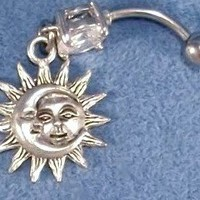 Sun Moon Celestial Silver Charms Pewter 316L Navel Belly Ring