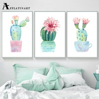 AFFLATUS Potted Cactus Canvas Painting Wall Art Posters And Prints Nordic Poster Watercolor Wall Pictures For Living Room Decor