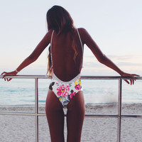 Floral Print Backles One Piece Swimsuit