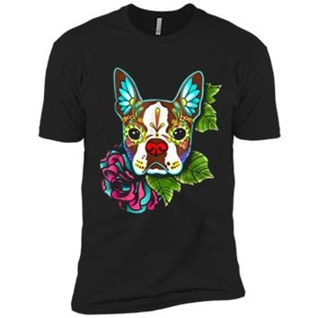 Boston Terrier in Red - Day of the Dead Sugar Skull Dog Next Level Premium Short Sleeve Tee