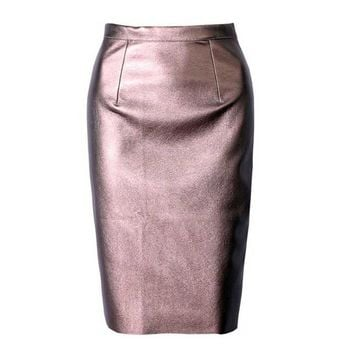 Sexy Casual Formal Split Leather PU Sheath Pencil Skirt