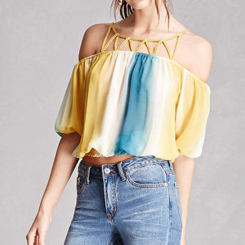 Multicolored Open-Shoulder Top