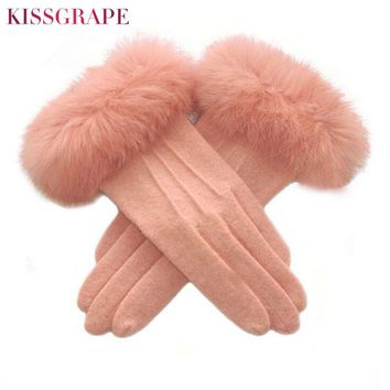 Touch Screen Women's Warm Cashmere Gloves with Big Rabbit Fur Ladies Luxury Quality Wool Gloves Double Layer Thick Warm Mittend