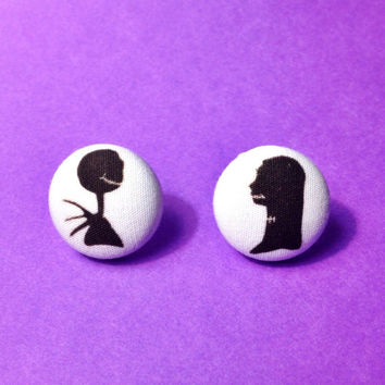 "Handmade ""Jack and Sally"" Silhouette Disney's Nightmare Before Christmas inspired Earring Set - Fabric Button Earrings 3/4 inch"