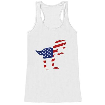 Women's 4th of July Shirt - American Flag Dinosaur - White Tank Top - Dino Fourth of July Shirt - American Pride Tank - Patriotic Dinosaur