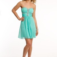 Strapless Mesh Beaded Dress