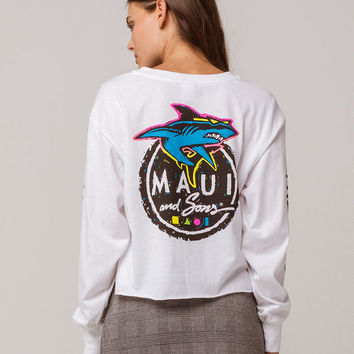MAUI AND SONS Logo White Womens Crop Tee