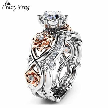 2pcs Set Crystal Wedding Rings Rhinestone Love Rings for Women Infinity Rose Flower Ring Full Size anillos mujer Silver Color