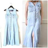 pale CHAMBRAY dress / early 90s GRUNGE long light wash bleached DENIM duster dress small medium