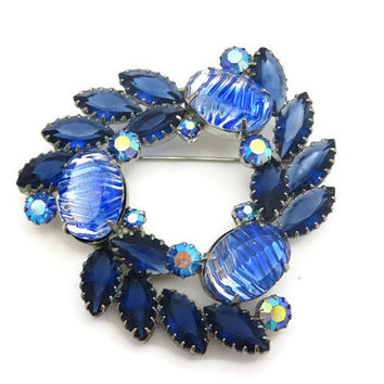 Costume Jewelry Blue Rhinestone Brooch - Fancy Stones, AB Finish, Wreath, Open Back, Juliana Style