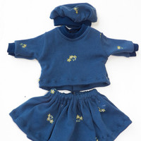 "Bitty Baby Doll Clothes Twin Girl or Baby Doll 15"" American Girl Navy Blue Yellow Embroidered Flower Cotton Knit Skirt T shirt Tam Hat 3pc"