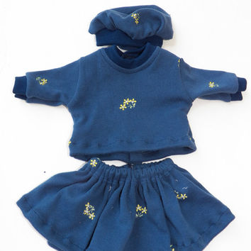 """Bitty Baby Doll Clothes Twin Girl or Baby Doll 15"""" American Girl Navy Blue Yellow Embroidered Flower Cotton Knit Skirt T shirt Tam Hat 3pc"""