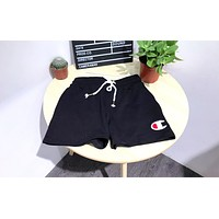 Champion new women's embroidery small standard cotton drawstring sports leisure beach shorts Black
