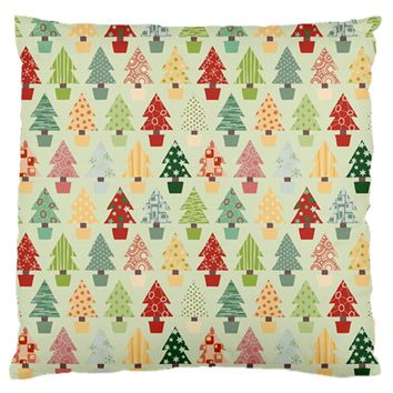 Christmas Tree Pattern Large Flano Cushion Case (two Sides)