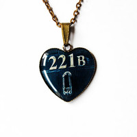"221B Door Number From Sherlock's Flat On Baker Street - From Television Series ""Sherlock"" - Handmade Heart Cameo Pendant Necklace"