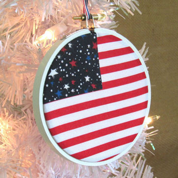 Patriotic Ornament, Flag Christmas Tree Ornament, Patriotic Holiday Decor, Red White and Blue Country Decor, Rustic Embroidery Hoop Ornament