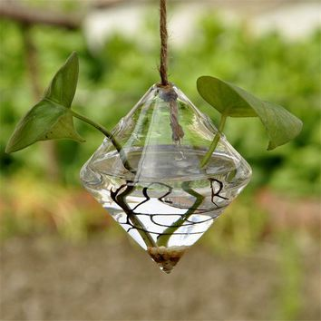 ac NOOW2 Pretty Transparent Rhombus Crystal Glass Plant Vase Terrarium Hydroponics Hanging Wedding Party Home Decor
