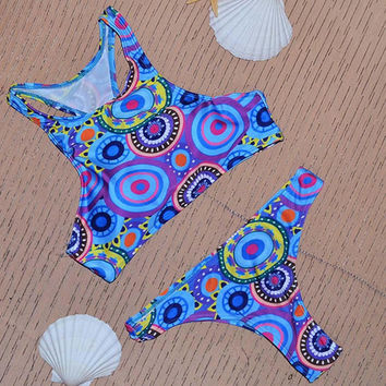 Colored Printed Crop Top High Neck Swimsuit Bikini Beach Bathing suit