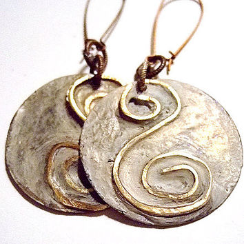 "Brass and Shell Earrings for Women, Drop 3 1/8"", Gift for Her, Coupon Code: HOLIDAYSALE, Handmade Jewelry, Etsy Unique Jewelry, OOAK"