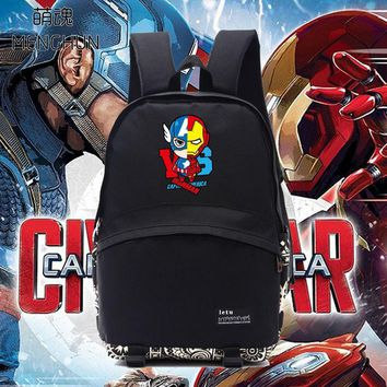 New cool black school backpack The Avengers Iron man Captain American backpack for students bag fans backpack NB062