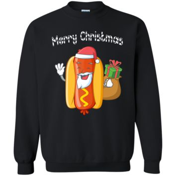 Merry Christmas Hot Dog Santa Ugly Sweater Funny Xmas Gift G180 Gildan Crewneck Pullover Sweatshirt  8 oz.