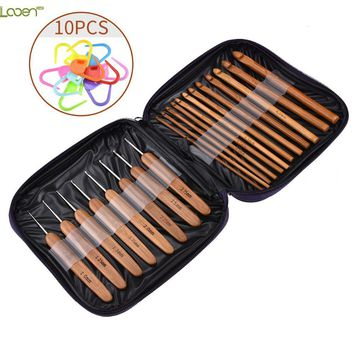 20pcs Bamboo Crochet Hook Knitting Needles  Sweater Scarf Hat Tool With 10pcs Stitch Makers