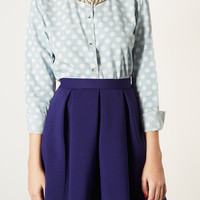 MOTO Spot Crop Denim Shirt - Tops - Clothing - Topshop