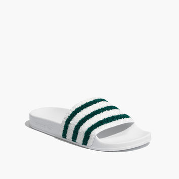 Adidas® Unisex Adilette® Sweatband Slides in Green and White