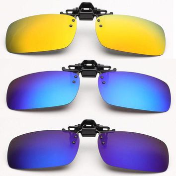 DCCK7N3 Unisex Polarized Clip On Sunglasses Driving Night Vision Lens Anti-UVA Anti-UVB Cycling Fishing Sunglasses Clip