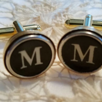 Letter M Gold Cuff Links, Mens Jewelry, Typewriter Key Cuff Links, Vintage M Typewriter, Initial M Cufflinks, Mens Personalized Cuff Links