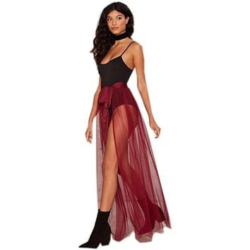 See Through Long Skirt Burgundy Tulle Women Skirts Faldas Floor Length Sexy Skirt Women Custom Made Saia Skirt Cheap