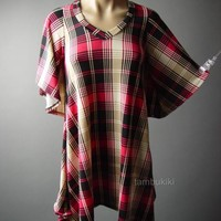 Pink Black Plaid Sweater Knit Handkerchief Hem Trapeze Top 65 mv Tunic S M L XL