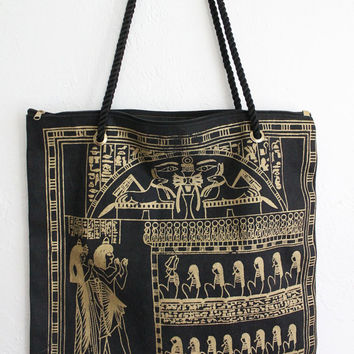 Vintage 80s Black Gold Metallic Egyptian Print Large Tote Bag