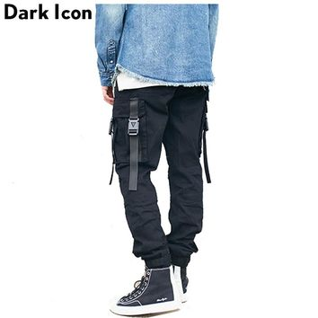 Side Pockets with Buckle Men's Cargo Pants High Street Elastic Waist Drawstring Camouflage Pants Men
