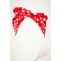 We can do it Red Pinup headband Polka dots head band 60's Style Retro bandana Dolly Bow LIMITED EDITION
