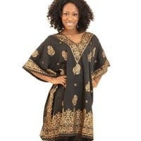 Black Dashiki Top with Gold Paisley Print