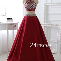 Unique burgundy sequin 2 pieces long prom dress, evening dress