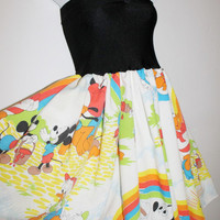 DISNEY Mickey Mouse RAINBOW Dress BOW Handmade Paint by lynnsrags