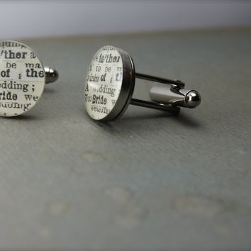 Father of the Bride Sterling Silver Round Cufflinks